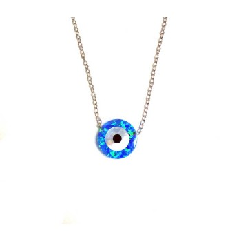 """Sterling Silver Necklaces Mother Of Pearl Evil""""S Eye Blue Opal"""