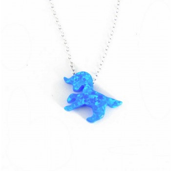 Sterling Silver Necklace Lab Created Blue Opal Unicorn 16+2 In