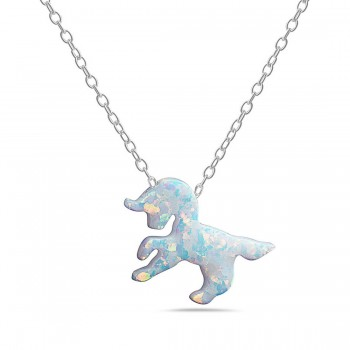 Sterling Silver Necklace Lab Created White Opal Unicorn 16+2 In
