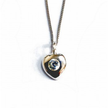 Sterling Silver Necklace Tiny Heart Charm With 1 Clear Cubic Zirconia