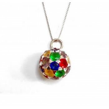 Sterling Silver Necklace Fireball Multicolor Cubic Zirconia Box Chain 18 In