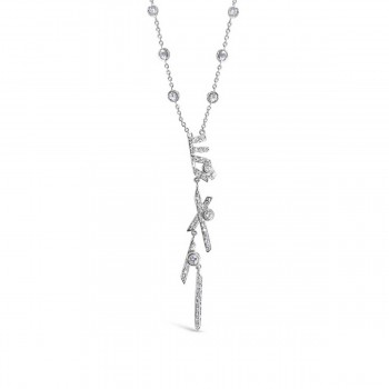 Sterling Silver Necklace 11 Clear Cubic Zirconia Bezel+ 'X' Bar