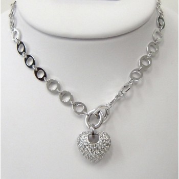 Sterling Silver Necklace Pave Heart with Basketweave Open Back