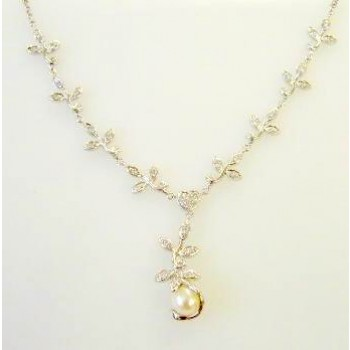 Sterling Silver Necklace Y Shaped Rolo Chain with Filigree Marqui