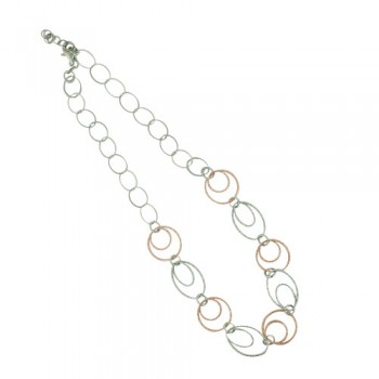 Sterling Silver Necklace with Textured Rose Gold Round Links Wi