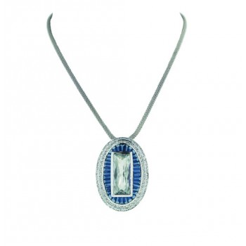 Sterling Silver Necklace 33X45 Oval Baugette Sapphire Crystal