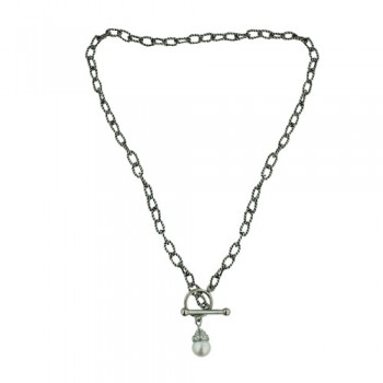 """STAINLESS NECKLACE 18"""" TOGGLE LOCK 10MM WHITE PEARL WI PCL"""