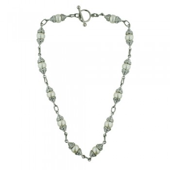 "STAINLESS NECKLACE 18"" 12MM WHITE PEARL WITH CLEAR CUBIC ZIRCONIA STATIO PCl"