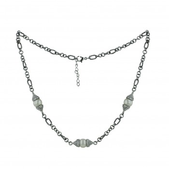 """STAINLESS NECKLACE 3 GLASS PEARL 18"""" PCL"""