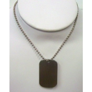 "STAINLESS STEEL 25"" BEAD CHAIN WITH DOG TAG"