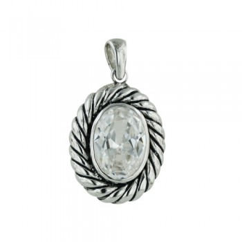 Brass Pdnt Clear Cz Center With Oxidized Rope Oval, Clear