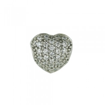 Brass Pendant Pave Puffy Heart Slider