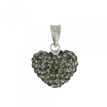 Brass Pendant 13Mm/8.5 (Thickness) Puffy Heart Blk, Black