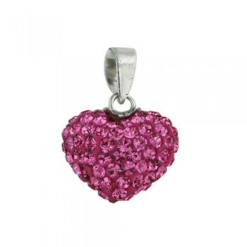Brass Pendant 13Mm/8.5 Thick Puffy Heart Pink, Pink