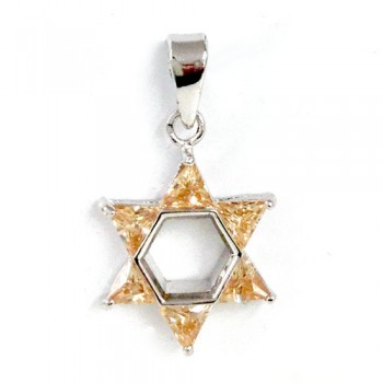Brass Pdnt 17X17Mm Open Jewish Star 5 Triangel Ch, Champagne