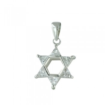 Brass Pdnt 17X17Mm Open Jewish Star 5 Triangel Cl