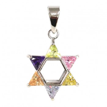 Brass Pdnt 17X17Mm Open Jewish Star 5 Triangel Pd+, Green
