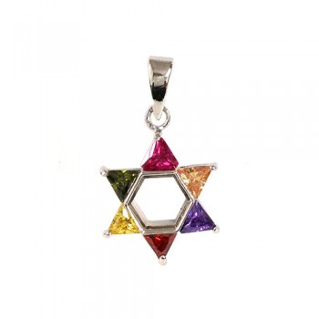 Brass Pdnt 17X17Mm Open Jewish Star 5 Triangel Gn+, Red