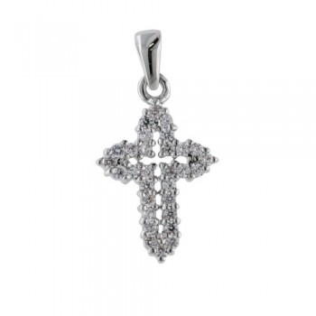 Brass Pendant Cross Clear Cz Outline W/ Rhodium P, Clear