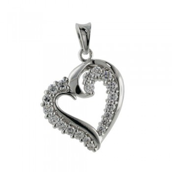 Brass Pendant Heart Traced W/ Clear Cz W/ Rhodium, Clear