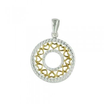 Brass Pendant Open Circle W/ Gold Heart Pattern, Golden