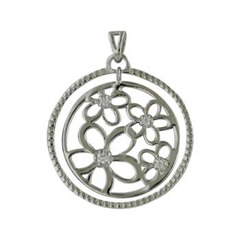 Brass Pendant Open Circle Flower Pattern Cl Cz