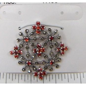 Marcasite Pendant Garnet Cubic Zirconia Flower Motif