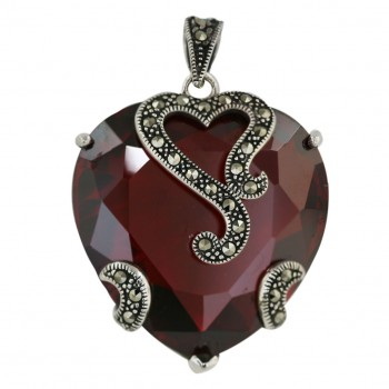 Marcasite Pendant 31X31mm Garnet Cubic Zirconia Heart with Open Oxidized Rope H