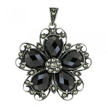 Marcasite Pendant 25X25mm 5 Black Cubic Zirconia Chess Cut Flower Petals