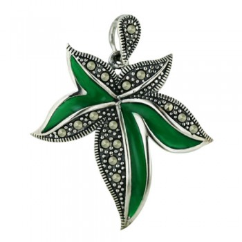 Marcasite Pendant Dk. Gr Transparent Epoxy with Pave Marcasite Leaf