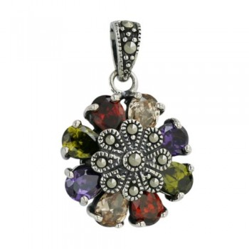 Marcasite Pendant Garnet +Champagne+Olivine+Amethyst Cubic Zirconia Flower Petals with Pave Marcasite Ctr