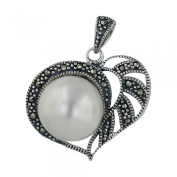 Marcasite Pendant 14mm Shell Pearl Open Heart with Marcasite