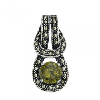 Marcasite Pendant 10mm Peridot Cubic Zirconia on Overlapping Loop