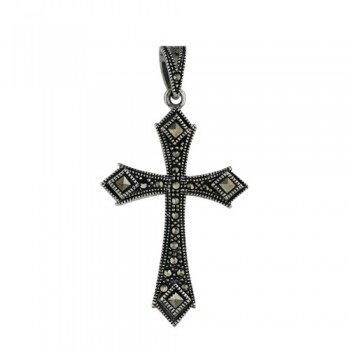 Marcasite Pendant Marcasite Cross with Square Marcasite on