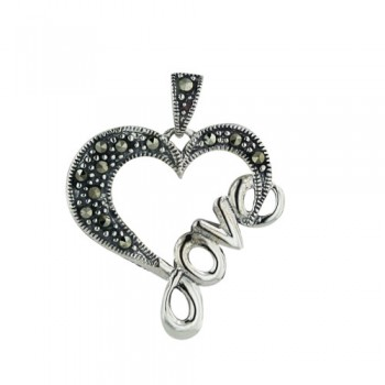"Marcasite Pendant Open Heart with Word ""Love"" on One Side"
