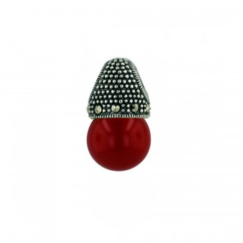 Marcasite Pendant 13mm Synthetic Red Coral