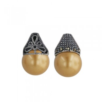 Marcasite Pdnt13mm Gold Pearl Ball One Sade Filigree Marcasite O