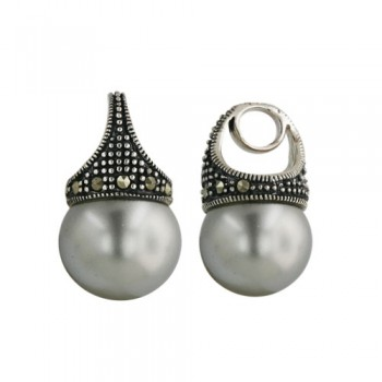 Marcasite Pdnt12mm White Pearl Ball Marcasite Around Matc
