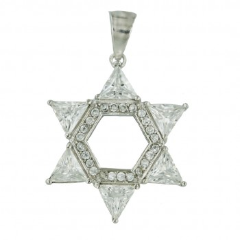 Sterling Silver Pendant (W=28mm) Clear Cubic Zirconia Jewish Star