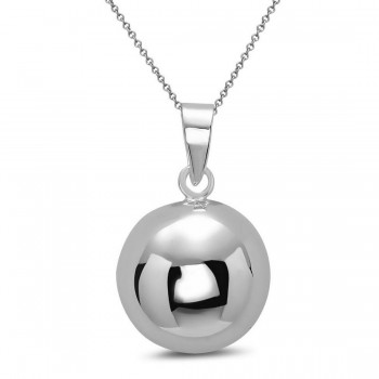 Sterling Silver Pendant 12mm Plain Ball -Ecoat