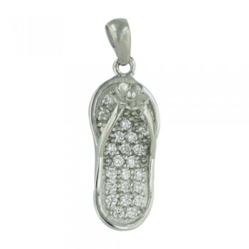 Sterling Silver Pendant Clear Cubic Zirconia Flip-Flop Flower Sandal Charm --Rhodium Plating/Nickle Free