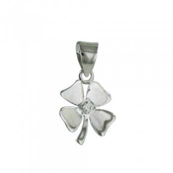 Sterling Silver Pendant 4 Leaf Clover with Clear Cubic Zirconia in Center