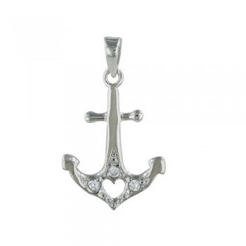 Sterling Silver Pendant Boat Anchor with Heart Center and Clear Cubic Zirconia