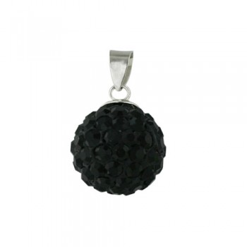 Sterling Silver Pendant 12 mm Black Crystal Fireball