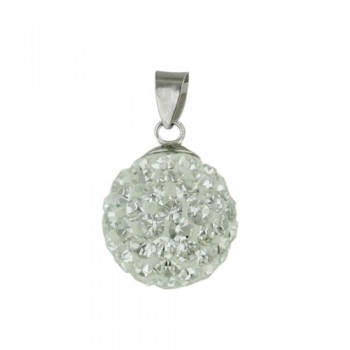 Sterling Silver Pendant 12 mm Clear Crystal-