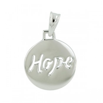 Sterling Silver Pendant 15 mm Hope Wor Cut Out