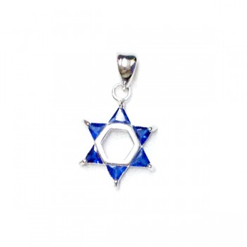 Sterling Silver Pendant Jewish Star with Sapphire Glass -Rhodium Plating Plate