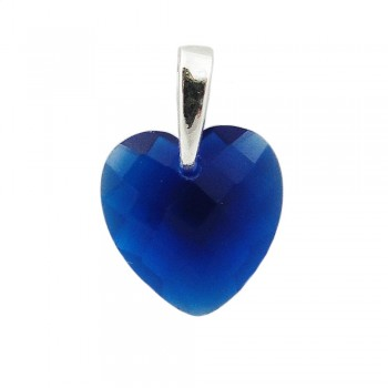 STERLING SILVER PENDANT SAPPHIRE GLAS CHESS CUT HEART WITH BAIL