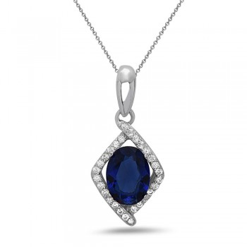 STERLING SILVER PENDANT RHOMBUS OVAL SAPPHIRE GLASS