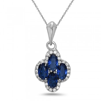 STERLING SILVER PENDANT 4 OVAL SAPPHIRE GLASS+ CUBIC ZIRCONIA AROUND